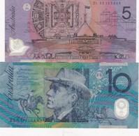 2 BILLETS BANQUE AUSTRALIE 10 ET 5 DOLLARS - Others