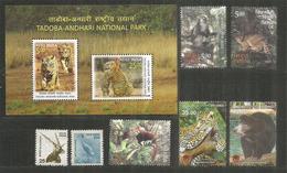 Faune Sauvage De L'Inde : Tigres,leopard,Chat Marbré, Etc Bloc-feuillet + 7 Timbres Neufs ** - Big Cats (cats Of Prey)