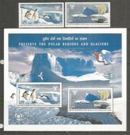 INDE. Preservation Des Regions Polaires Et Des Glaciers. Bloc-feuillet + Serie Neufs ** - Preservare Le Regioni Polari E Ghiacciai