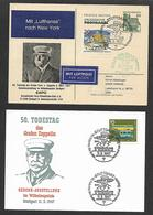 1967. TWO  COMMEMORATIVE  POSTCARDS  50th. ANNIVERSARY  OF  GRAF  ZEPPELIN  FLIGHT. - Germany