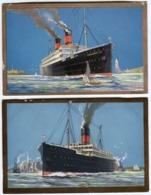 2 Scandinavian America Line Colour Postcards UNITED STATES + FREDERIK VIII C. 1910 - Piroscafi