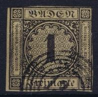 Baden  Mi 1 A  Hell Graugelb Obl./Gestempelt/used  Signed/ Signé/signiert/ Approvato - Bade
