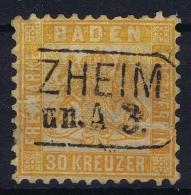 Baden  Mi 22 Obl./Gestempelt/used  Cancel Zheim  With Damage - Bade