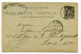 M32 :  ENTIER PAIX ET COMMERCE 10c 1901 OYONNAX - Cartes Postales Types Et TSC (avant 1995)