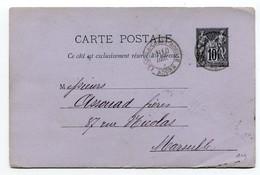 M32 :  ENTIER PAIX ET COMMERCE 10c 1885 LYON A CROIX ROUSSE - Enteros Postales