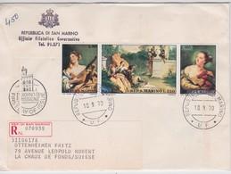 SAINT-MARIN 1970 LETTRE RECOMMANDEE DE SAN MARINO AVEC CACHET ARRIVEE LA CHAUX DE FONDS - Lettres & Documents