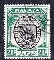 Malaysia-Negri Sembilan SG 53 1949 Arms, 20c Black And Green, Used - Negri Sembilan