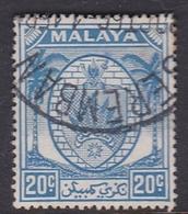 Malaysia-Negri Sembilan SG 54 1949 Arms, 20c Bright Blue, Used - Negri Sembilan