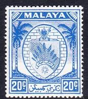 Malaysia-Negri Sembilan SG 54 1952 Arms, 20c Bright Blue, Mint Hinged - Negri Sembilan