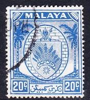 Malaysia-Negri Sembilan SG 54 1952 Arms, 20c Bright Blue, Used - Negri Sembilan