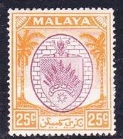 Malaysia-Negri Sembilan SG 55 1949 Arms, 25c Purple And Orange, Mint Hinged - Negri Sembilan