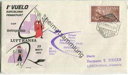 Luftpost Deutsche Lufthansa - Wiederaufnahme Des Luftverkehrs Barcelona - Frankfurt Am Main Am25.Mai 1959 - Luftpost