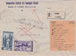 ITALIE 1951 LETTRE RECOMMANDEE DE LUGO RETOURNEE DESTINATAIRE INCONNU - 6. 1946-.. Republik
