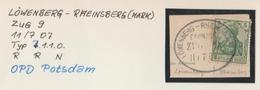 """4 167 Briefstück Bahnpost """"LÖWENBERG-RHEINSBERG(MARK)"""" 1907 - Allemagne"""
