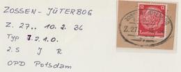 "4 187 Briefstück Feldpost Bahnpost ""ZOSSEN-JÜTERBOG"" 1936 - Allemagne"