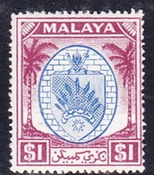 Malaysia-Negri Sembilan SG 60 1949 Arms, $ 1.00 Blue And Purple, Mint Hinged - Negri Sembilan