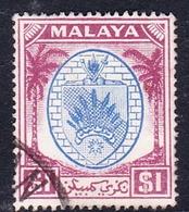 Malaysia-Negri Sembilan SG 60 1949 Arms, $ 1.00 Blue And Purple, Used - Negri Sembilan