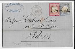 1872 - LETTRE De MULHOUSE => PARIS Avec ENTREE Par BELFORT - Postmark Collection (Covers)