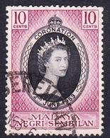 Malaysia-Negri Sembilan SG 67 1953 Coronation, Used - Negri Sembilan