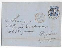 "1877 - LETTRE De METZ (MOSELLE) => DIJON Avec ENTREE AMBULANT ""B"" - Postmark Collection (Covers)"
