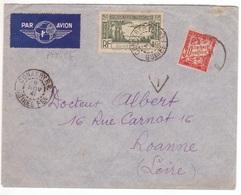 Guinée Française 4F50 Poste Aérienne Lettre Par Avion > France 1941 CONAKRY RP Taxe 30c Banderole (Duval) Roanne Loire - Frans Guinee (1892-1944)