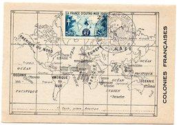 CARTE MAXIMUM FRANCE 1945 / PARIS  = CACHET Illustré LA FRANCE D'OUTRE MER DANS LA GUERRE + N° 741 - Maximumkarten