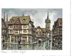 Gravure Sur Papier 20 *15 Couleur  Legendre  OBERNAI La Tour Kappel  1978 Ed KRISSARTS STRASBOURG - Oils