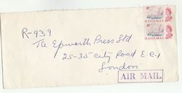 1968 BAHAMAS  Air Mail COVER Stamps  2 X 10c YACHTING Sailing Sport To GB - Bahamas (...-1973)