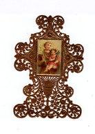 Image Pieuse Croix Dorée Découpée Type Canivet. Image De Saint Antoine De Padoue Et Jésus. (116) - Images Religieuses