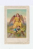 Image Pieuse Sur Fond Avec Bordure Ajourée Type Canivé. Ange Et Petit Enfant. (117) - Images Religieuses