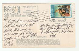 1973 BAHAMAS Advert COVER KINGS INN HOTEL & GOLF CLUB  (postcard Hotel Golf Course Casino) Christmas Stamps Sport To USA - Bahamas (1973-...)