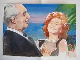 Acquarello Con Sophia Loren E Vittorio De Sica - Acquarelli