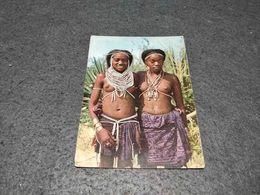 POSTCARD ANGOLA TRIBAL GIRLS KACONDAS - UMBUNDU - HUILA UNUSED - Angola