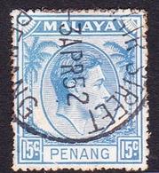Malaysia-Penang SG 13 1949 King George VI, 15c Ultramarine, Used - Penang