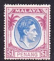 Malaysia-Penang SG 20  1949 King George VI, $ 1.00 Blue And Purple, Mint Hinged - Penang
