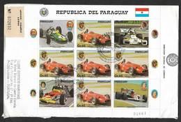 Paraguay FDC Recommandée 1989 Course Automobile F1 Fangio Maserati Alain Prost Mc Laren Lotus Racing Cars R FDC - Automobilismo