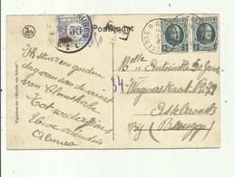Sterstempel + Taxzegel Op Postkaart Van Clemskerke Naar Assebroek Brugge - Sterstempels