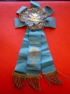 1903 INSIGNE COCARDE CONSCRIT MILITAIRE Insigne 2 ÉTENDARDS TRICOLORE Métal Doré-Ruban Bleuet Vive La Classe -Militaria - Badges & Ribbons