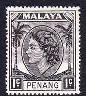 Malaysia-Penang SG 28 1954 Queen Elizabeth II, 1c Black, Mint Hinged - Penang