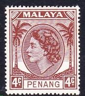 Malaysia-Penang SG 30 1954 Queen Elizabeth II, 4c Brown, Mint Hinged - Penang