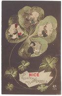 Cpa De Nice Recevez Mes Amitiés ( Trèfle à Quatre Feuille, Soldat, Patriotique ) - Nice