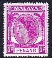 Malaysia-Penang SG 31 1954 Queen Elizabeth II, 5c Bright Purple, Mint Hinged - Penang