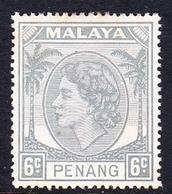 Malaysia-Penang SG 32 1954 Queen Elizabeth II, 6c Grey, Mint Hinged - Penang
