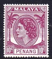 Malaysia-Penang SG 36 1954 Queen Elizabeth II, 10c Brown Purple, Mint Hinged - Penang