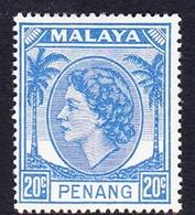 Malaysia-Penang SG 36 1954 Queen Elizabeth II, 20c Bright Blue, Mint Hinged - Penang