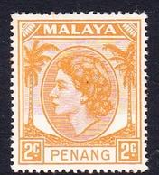 Malaysia-Penang SG 37 1954 Queen Elizabeth II, 2c Yellow Orange, Mint Hinged - Penang
