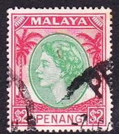 Malaysia-Penang SG 42 1954 Queen Elizabeth II, $ 2.00 Emerald And Scarlet, Used - Penang
