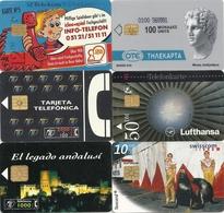 PETIT LOT DE 6 TELECARTES ETRANGERES TOUTES DIFF ..2 ESP - 2 ALL - 1 SUISSE & 1 GRECE - Télécartes
