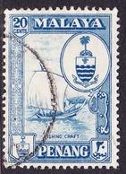 Malaysia-Penang SG 61 1960 Definitives, 20c Blue, Used - Penang