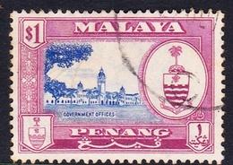 Malaysia-Penang SG 63 1960 Definitives, $ 1.00 Ultramarine And Redish Purple, Used - Penang